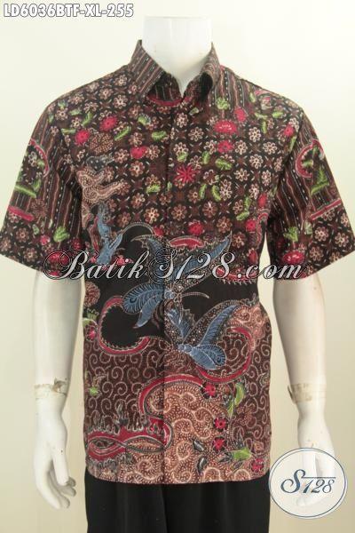 Produk Terbaru Pakaian Batik Lengan Pendek Modis Motif Mewah, Baju Batik Elegan Halus Proses Kombinasi Tulis Model Lengan Pendek Full Furing Tampil Terlihat Mewah, Size XL