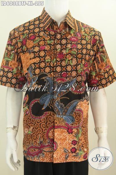 Sedia Busana Batik Modis Lengan Pendek Untuk Kerja, Jual Online Kemeja Batik Premium Kombinasi Tulis Daleman Full Furing Untuk Penampilan Lebih Istimewa, Size XL