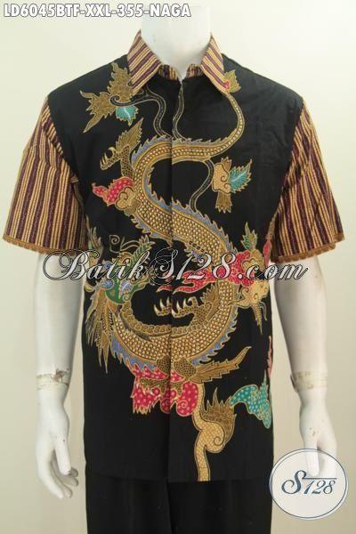 Produk Pakaian Batik Jumbo Size XXL Motif Naga Warna Dasar Hitam, Baju Batik Lengan Pendek Full Furing Buat Pria Gemuk Tampil Gagah Mempesona Proses Kombinasi Tulis