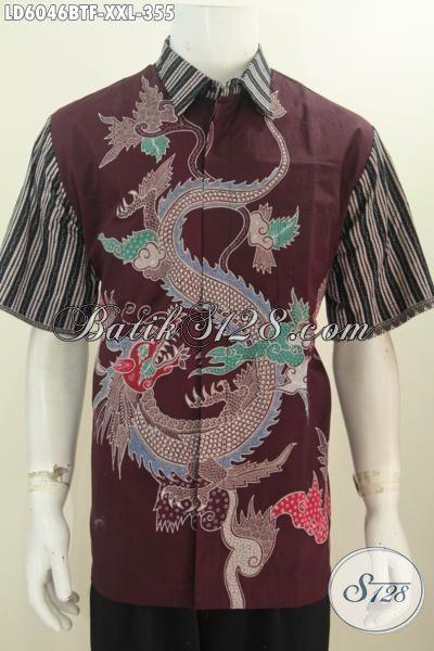 Baju Batik Pria 350 Ribuan, Produk Pakaian Batik Kwalitas Premium Model Lengan Pendek Motif Naga Kombinasi Tulis, Pakaian Batik Lengan Penek Istimewa Full Furing Untuk Lelaki Gemuk Tampil Terlihat Macho [LD6046BTF-XXL]