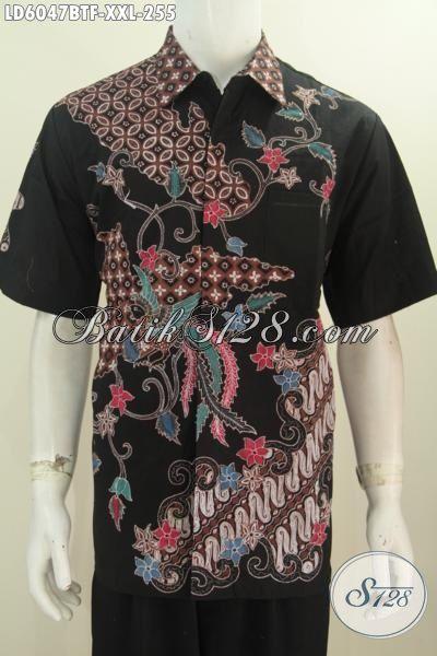 Produk Baju Batik Jumbo Paling Keren Saat Ini, Kemeja Batik Halus Lengan Pendek Untuk Pria Gemuk Dengan Motif Berkelas Daleman Full Furing Proses Kombinasi Tulis, Size XXL