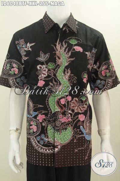 Hem Batik Motif Naga Nan Istimewa, Produk Kemeja Batik Dasar Hitam Kwalitas Halus Proses Kombinasi Tulis Buatan Solo Model Lengan Pendek Pake Furing Size XXL