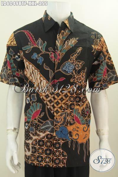 Produk Baju Batik Lengan Pendek Halus Daleman Full Furing, Pakaian Batik Kombinasi Tulis Ukuran Jumbo Untuk Seragam Kerja Cowok Gemuk, Size XXL