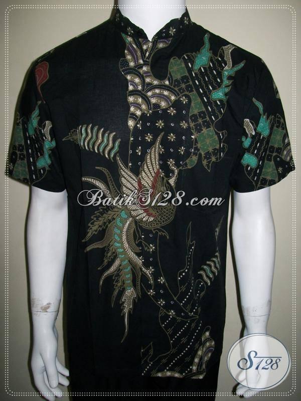 Baju Batik Kerah Koko Shanghai Pria Dasar Hitam Elegan [LD604T-M]