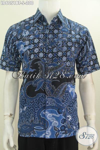 Toko Baju Batik Online Sedia Hem Lengan Pendek Istimewa Non Furing Berbahan Halus Warna Biru Motif Mewah Proses Kombinasi Tulis Untuk Tampil Lebih Gaya, Size S