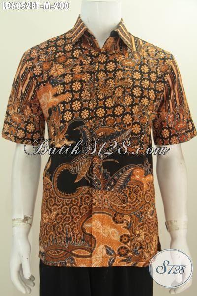 Baju Kemeja Batik Mewah Halus Size M, Baju Batik Halus Kombinasi Tulis Model Lengan Pendek Motif Klasik Harga 200K