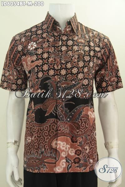 Kemeja Batik Lengan Pendek Ukuran M, Baju Batik Halus Proses Kombinasi Tulis Motif Mewah Untuk Pria Dewasa Tampil Modis Dan Gagah