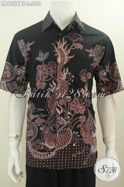 Jual Kemeja Batik Lengan Pendek Halus Proses Kombinasi Tulis Motif Naga, Produk Pakaian Batik Yang Mampu Bikin Lelaki Terlihat Gagah Dan Mempesona Harga 200K, Size L