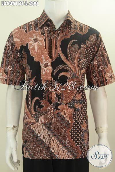 Hem Batik Solo Motif Terkini Untuk Pria Bisa Tampil Mempesona, Pakaian Batik Kombinasi Tulis Lengan Pendek Mewah Asli Buatan Solo, Size L