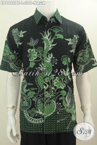 Pakaian Batik Motif Naga Warna Hijau Dengan Dasar Hitam, Hem Batik Keren Halus Proses Kombinasi Tulis Size L Untuk Penampilan Lebih Gaya Dan Trendy