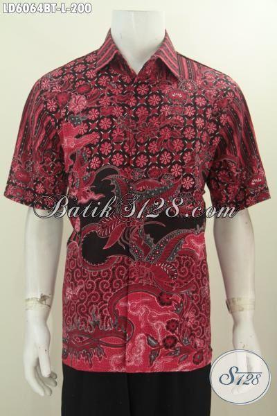 Baju Batik Halus Warna Merah Motif Terkini, Kemeja Batik Lengan Pendek Istimewa Proses Kombinasi Tulis Untuk Tampil Keren Dan Modis, Size L
