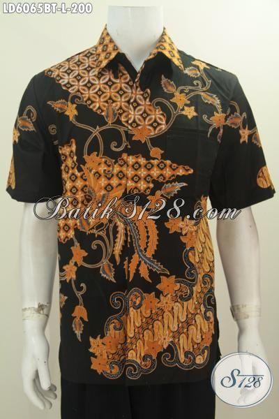 Baju Batik Mewah Halus Harga Terjangkau, Produk Baju Batik Untuk Kerja Terkini Bahan Halus Nan Istimewa Model Lengan Pendk Proses Kombinasi Tulis, Size L