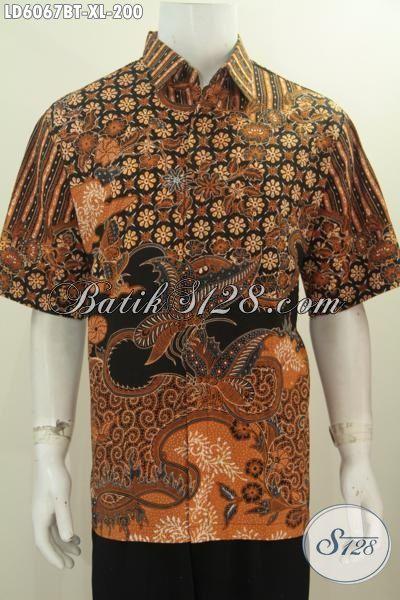 Pakaian Batik Size XL Bahan Halus Motif Klasik, Baju Batik Lengan Pendek Modis Kwalitas Istimewa Proses Kombinasi Tulis Motif Trend 2016