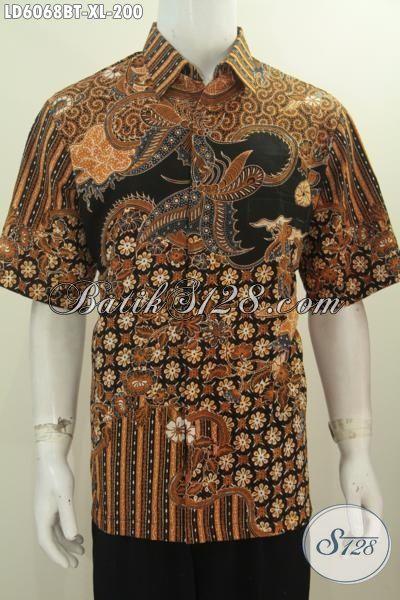 Hem Batik Kwalitas Bagus Model Lengan Pendek Motif Klasik, Baju Batik Formal Pria Proses Kombinasi Tulis Daleman Tidak Pakai Furing, Size XL