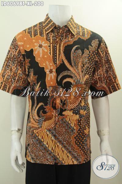 Jual Kemeja Batik Lengan Pendek Ukuran XL, Kemeja Batik Masa Kini Kwalitas Halus Bahan Adem  Motif Mewah Kombinasi Tulis Harga 200 Ribuan