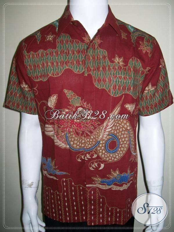 Kemeja Batik Tulis Pria Merah Motif Naga Bersayap, Keren Dan Bagus [LD606T-M]