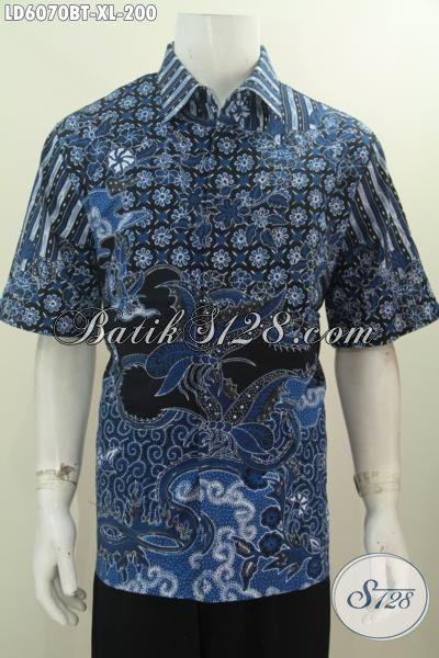 Produk Kemeja Batik Elegan Modis Warna Biru, Hem Batik Halus Motif Terkini Kombinasi Tulis Yang Mampu Membuat Pria Terlihat Gagah Dan Tampan, Size XL
