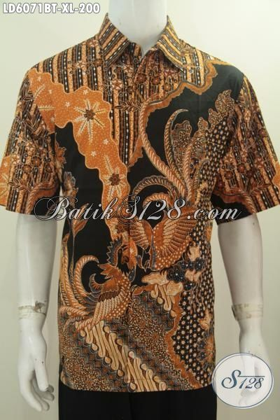 Sedia Produk Pakaian Batik Istimewa Model Lengan Pendek Untuk Pria Dewasa, Hem Batik Klasik Elegan Proses Kombinasi Tulis Asli Buatan Solo, Size XL
