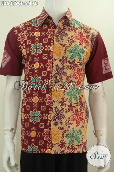 Busana Batik Lelaki Muda Ukuran S, Pakaian Batik Remaja Pria Bahan Adem Proses Cap Tulis Warna Merah Motif Unik Tampil Lebih Menarik