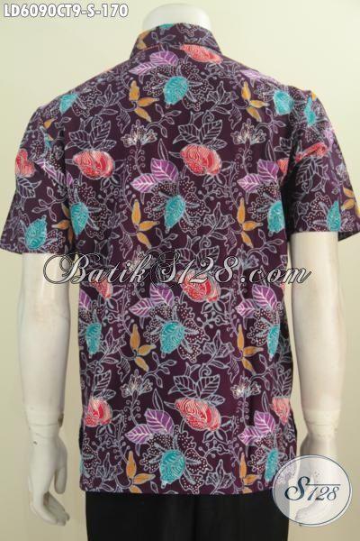 Jual Online Kemeja Batik Modern Desain Modis Kwalitas Bagus Harga Terjangkau, Baju Batik Lengan Pendek Cap Tulis Khas Jawa Tengah Harga 170K, Size S