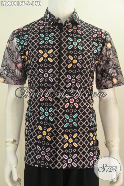 Jual Online Hem Batik Halus Proses Cap Tulis Motif Kombinasi, Produk Pakaian Batik Lelaki Muda Untuk Santai Dan Bekerja, Size S