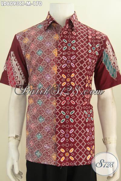 Sedia Hem Batik Merah Marun Kwalitas Bagus Berbahan Adem Proses Cap Tulis, Pakaian Batik Lengan Pendek Istimewa Untuk Pria Muda Tampil Modis Dan Keren, Size M