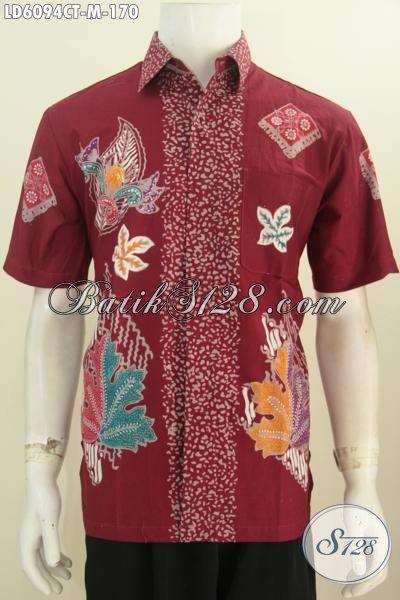 Baju Batik Hem Warna Merah Bahan Halus Motif Terbaru Yang Lebih Berkelas, Produk Kemeja Batik Ukuran M Buatan Solo Untuk Kerja Kantoran