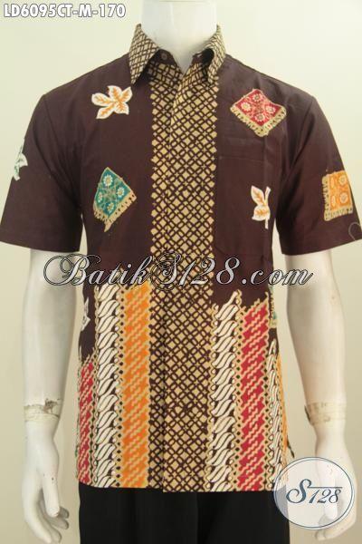 Pakaian Batik Lelaki Muda Model Lengan Pendek Tidak Pakai Furing, Produk Kemeja Batik Modis Nan Istimewa Bikin Pria Terlihat Keren Dan Istimewa, Size M