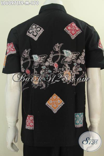 Di Jual Hem Batik Elegan Warna Hitam Dengan Motif Unik, Produk Baju Batik Lengan Pendek Cap Tulis Harga Terjangkau Untuk Penampilan Lebih Keren, Size M
