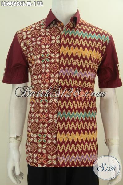 Baju Batik Lengan Pendek Ukuran M, Produk Pakaian Batik Lelaki Muda Motif Kombinasi Proses Cap Tulis Harga 100 Ribuan