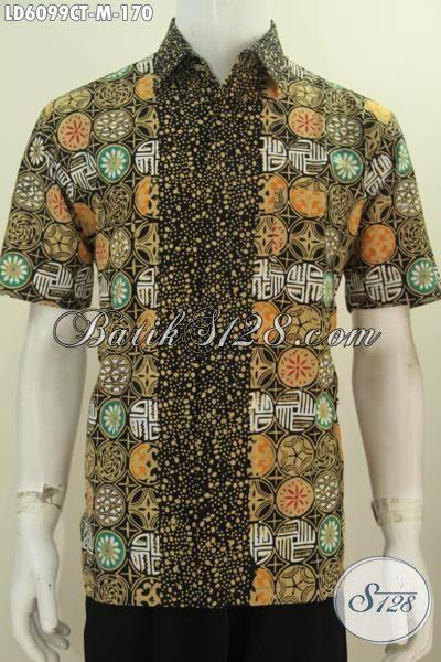 Kemeja Batik Elegan Motif Berkelas Proses Cap Tulis, Busana Batik Berbahan Halus Buatan Solo Untuk Lelaki Terlihat Keren Dan Gagah, Size M