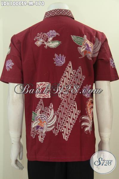 Jual Online Pakaian Batik Istimewa Model Lengan Pendek, Baju Hem Keren Bahan Halus Motif Trendy Proses Cap Tulis Buat Pesta Dan Hangout, Size M