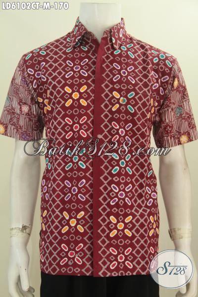Jual Kemeja Batik Online, Busana Batik Lengan Pendek Cap Tulis Motif Kombinasi Berbahan Halus Tidak Pakai Furing Proses Cap Tulis Harga 170 Ribu, Size M