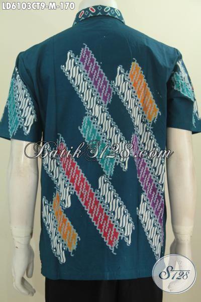Produk Baju Batik Lengan Pendek Motif Kombinasi, Busana Batik Istimewa Proses Cap Tulis Desain Berkelas Warna Hijau Harga 170K