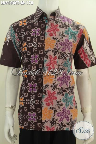 Produk Kemeja Batik Terkini Berbahan Halus Berpadu Motif Trendy Warna Coklat Proses Cap Tulis Untuk Penampilan Lebih Mempesona, Size M