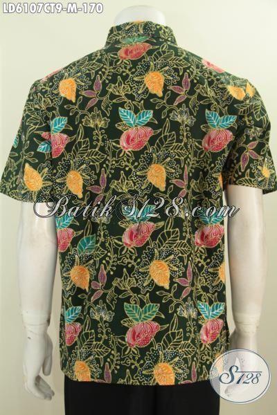Jual Produk Kemeja Batik Lengan Pendek Kwalitas Halus Warna Hijau Motif Bunga, Pakaian Batik Desain Cowok Desain Trendy Bahan Adem Proses Cap Tulis Harga 100 Ribuan