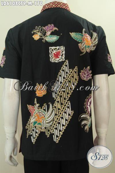 Hem Batik Kombinasi Warna Merah Hitam Dengan Motif Unik Dan Menarik, Pakaian Batik Cap Tulis Desain Berkelas Bikin Tampil Lebih Tampan, Size M