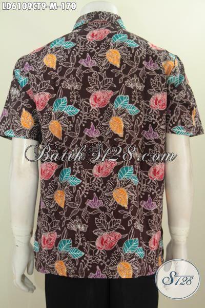 Toko Baju Batik Solo Online, Sedia Hem Keren Motif Bunga Proses Cap Tulis Dasar Coklat Nan Elegan, Baju Batik Santai Tampil Keren Lebih Paten, Size M