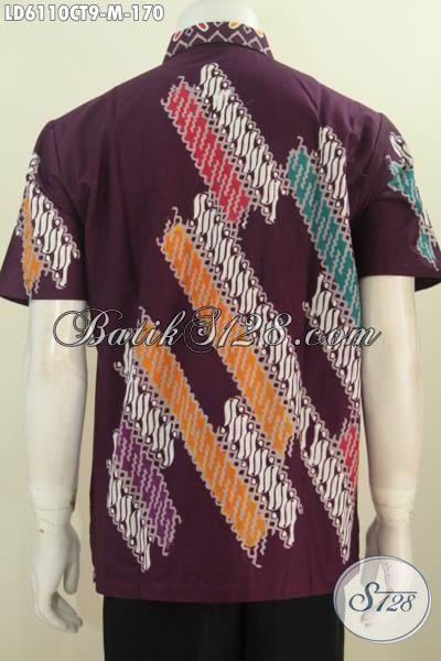 Hem Batik Fashion Lengan Pendek Size M, Baju Batik Pria Muda Berbahan Halus Motif Trendy Model Lengan Pendek Proses Cap Tulis