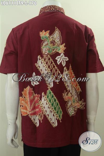 Baju Batik Trendy Kwalitas Halus Dan Adem, Kemeja Batik Lengan Pendek Istimewa Motif Terkini Dasar Merah Bikin Pria Terlihat Gagah Dan Mempesona [LD6111CT-L]