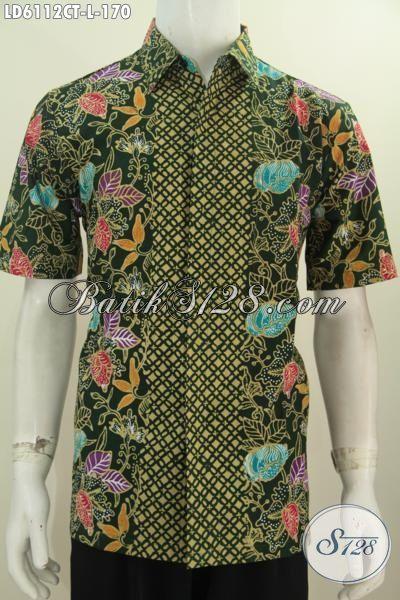 Juragan Baju Batik Solo Online, Jual Kemeja Batik Halus Proses Cap Tulis Motif Bunga Dasar Hijau Motif Kombinasi, Modis Untuk Hangout Ukuran L