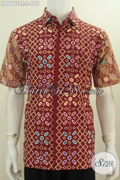 Baju Batik Halus Motif Keren Untuk Jalan-Jalan, Pakaian Batik Berkelas Buatan Solo Proses Cap Tulis Istimewa Buat Seragam Kerja [LD6113CT-L]