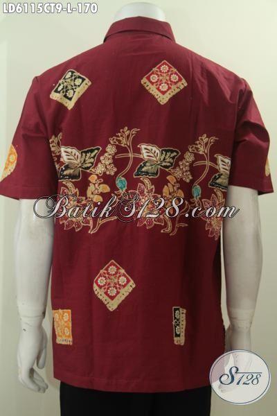 Baju Batik Merah Motif Kombinasi, Hem Batik Fashion Lengan Pendek Buatan Solo Proses Cap Tulis Untuk Tampil Keren Dan Gagah, Size L