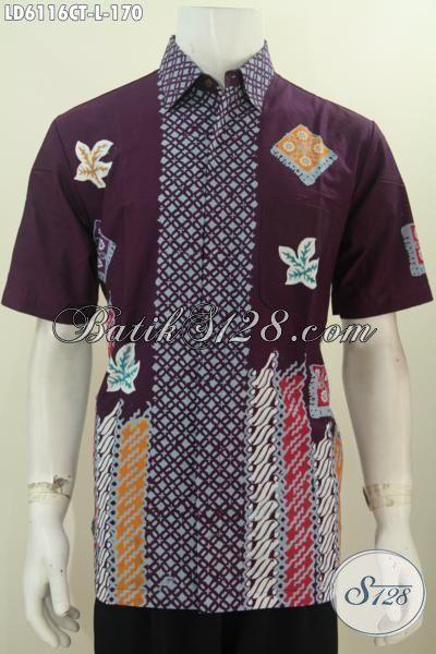 Aneka Baju Batik Pria Terkini, Hem Batik Modis Bahan Halus Proses Cap Tulis Untuk Penampilan Lebih Stylish, Size L Model Lengan Pendek