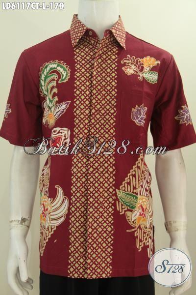 Di Jual Online Harga Grosir Produk Kemeja Batik Pria Lengan Pendek Motif Bagus Bahan Adem proses Cap Tulis Warna Merah, Cocok Untuk Hangout, Size L