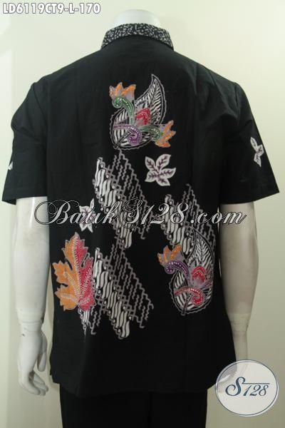 Baju Batik Hitam Desain Motif Modern Yang Modis Untuk Santai, Busana Batik Solo Proses Cap Tulis Lengan Pendek Daleman Non Furing Harga 100 Ribuan Saja, Size L