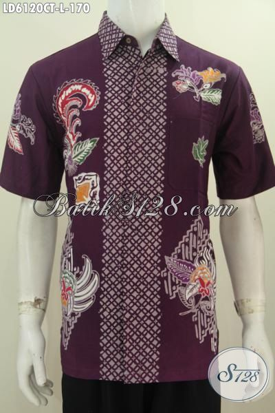 Sedia Kemeja Batik Modern Model Lengan Pendek, Baju Batik Modis Proses Cap Tulis Buatan Solo Harga Terjangkau Kwalitas Bagus, Size L