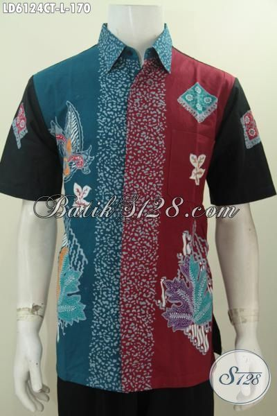 Baju Batik Tiga Warna Motif Unik Model Lengan Pendek, Hem Batik Solo Proses Cap Tulis Tampil Berkelas Dengan Harga Terjangkau, Size L