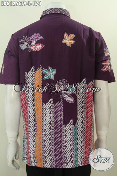 Produk Busana Batik Santai Untuk Pria, Kemeja Batik Keren Warna Elegan Berbahan Adem Proses Cap Tulis, Cocok Buat Jalan-Jalan, Size L