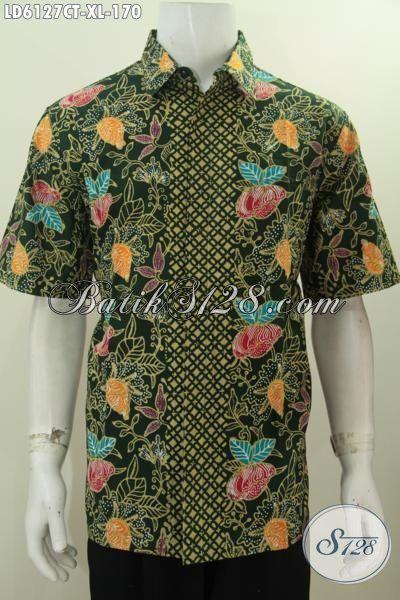 Produk Pakaian Batik Jawa Terkini, Hem Batik Proses Cap Tulis Motif Bunga Dasar Hijau, Untuk Kerja Bisa Santai Juga Bisa, Size XL
